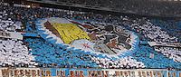 FUSSBALL   DFB POKAL 1. RUNDE   SAISON 2013/2014 TSV 1860 Muenchen - Borussia Dortmund         24.09.2013 1860 Muenchen Fans mit einer Fabchoreographie in der Nordkurve der Allianz Arena in Muenchen