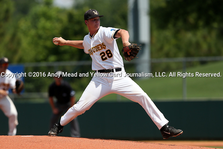 03 June 2016: Millersville's Brandon Miller. The Nova Southeastern University Sharks played the Millersville University Marauders in Game 13 of the 2016 NCAA Division II College World Series  at Coleman Field at the USA Baseball National Training Complex in Cary, North Carolina. Nova Southeastern won the first game of the best of three Championship Series 2-1.