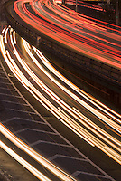 AVAILABLE FROM CORBIS FOR COMMERCIAL AND EDITORIAL LICENSING.  Please go to www.corbis.com and search for image # 42-21631529.<br /> <br /> Blurred Motion View of Traffic/Car Headlights on a Highway, Brooklyn-Queens Expressway, New York City, New York State, USA