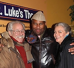 "After play Guiding Light's Denise Pence ""Katie"" poses with her husband Steve Boockvor and author and director Layon Gray at 7th Anniversary of Layon Gray's ""Black Angels Over Tuskegee"" - Straighten Up Fly Right -  on February 9, 2017 at St. Luke's Theatre, New York City, New York. (Photo by Sue Coflin/Max Photos)"