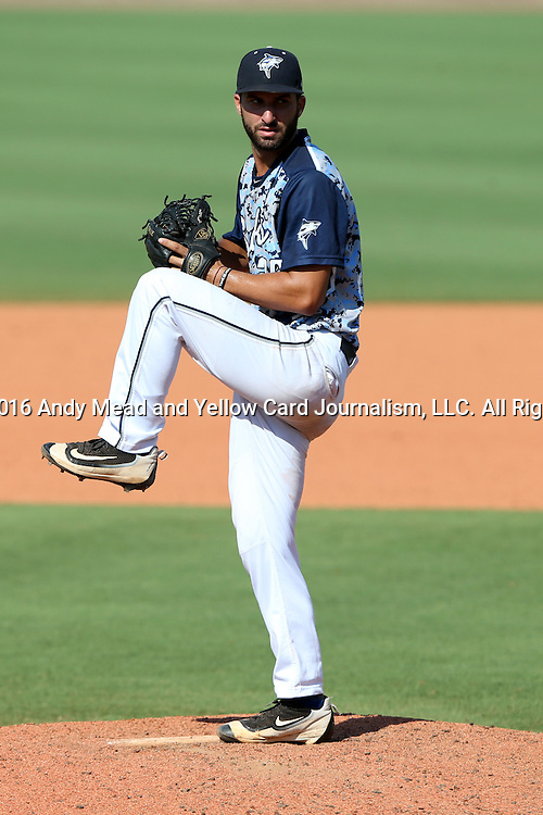 02 June 2016: Nova Southeastern's Ronald Patella. The Nova Southeastern University Sharks played the Cal Poly Pomona Broncos in Game 11 of the 2016 NCAA Division II College World Series  at Coleman Field at the USA Baseball National Training Complex in Cary, North Carolina. Nova Southeastern won the semifinal game 4-1 and advanced to the championship series.