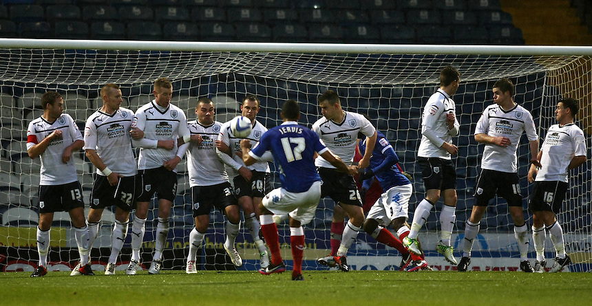 Portsmouth's Conor Clifford free kick is blocked by Preston North End's wall..Football - npower Football League Division One - Portsmouth v Preston North End - Saturday 15th December 2012 - Fratton Park - Portsmouth..