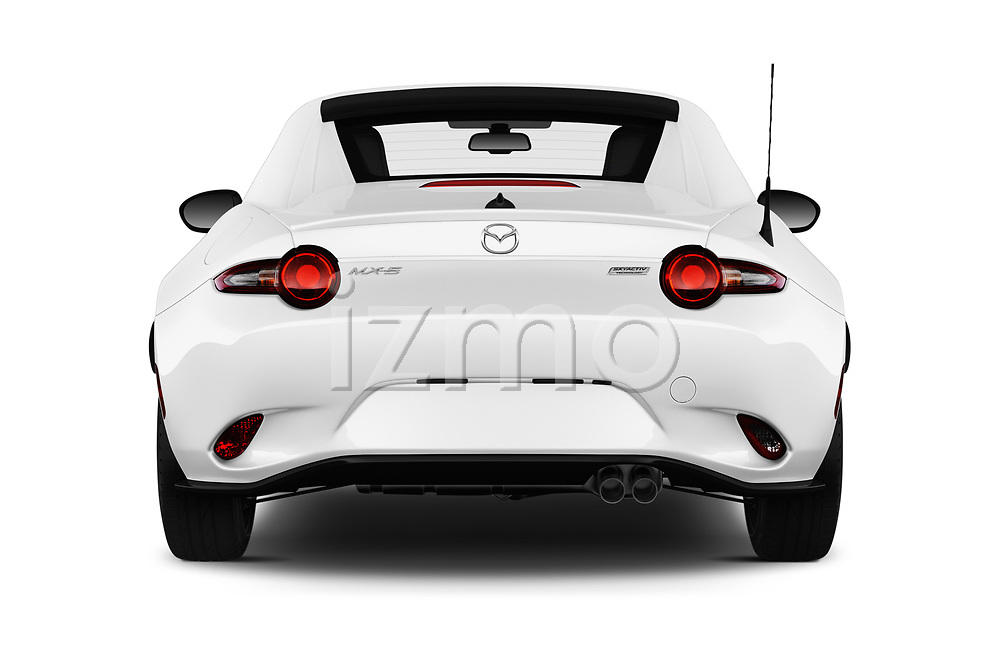 Straight rear view of a 2017 Mazda MX-5 RF First Edition 2 Door Targa stock images