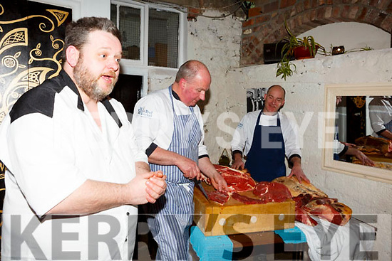 Croi Chef Noel King with Peter Curran and Stuart Purcell of the Well Bred Butchers giving a demonstration on meats on Thursday night last at the Croi Restruarant.