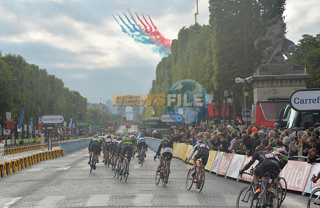 La Patrouille de France fly over the Champs Elysees in Paris during Stage 21 of the 2015 Tour de France running 109.5km from Sevres to Paris - Champs Elysees, France. 26th July 2015.<br /> Photo: ASO/B.Bade/Newsfile