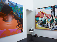 The entrance hall is decorated with a pair of artworks, Dexter Dalwood's After the Deluge (left) and David Salle's Pastoral with Nude