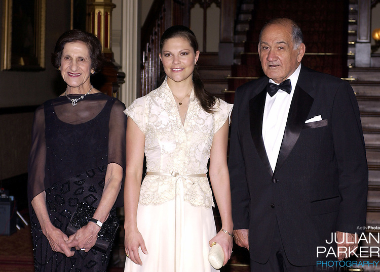 Crown Princess Victoria of Sweden attends a Dinner at Government House, Sydney, with The Governor of New South Wales HE Marie Bashir - during her visit taking part in 'Swedish Style in Australia'..