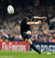 Dan Carter of New Zealand kicks for the posts. Rugby World Cup Pool C match between New Zealand and Georgia on October 2, 2015 at the Millennium Stadium in Cardiff, Wales. Photo by: Patrick Khachfe / Onside Images