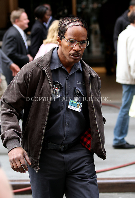 WWW.ACEPIXS.COM....April 28 2013, New York City....Actor Jamie Foxx was on the set of the new movie 'The Amazing Spiderman 2' on April 28 2013 in New York City........By Line: Zelig Shaul/ACE Pictures......ACE Pictures, Inc...tel: 646 769 0430..Email: info@acepixs.com..www.acepixs.com