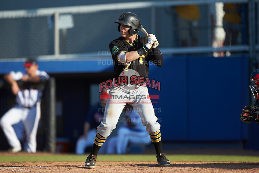 Dean Lockery (12) of the Bristol Pirates at bat against the Danville Braves at American Legion Post 325 Field on July 1, 2018 in Danville, Virginia. The Braves defeated the Pirates 3-2 in 10 innings. (Brian Westerholt/Four Seam Images)