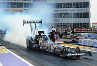 Apr. 27, 2012; Baytown, TX, USA: NHRA top fuel dragster driver Shawn Langdon during qualifying for the Spring Nationals at Royal Purple Raceway. Mandatory Credit: Mark J. Rebilas-