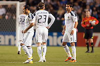 LA Galaxy players from L to R; Landon Donovan (10), David Beckham (23) and Juan Pablo Angel (9). The LA Galaxy defeated the Philadelphia Union 1-0 at Home Depot Center stadium in Carson, California on  April  2, 2011....