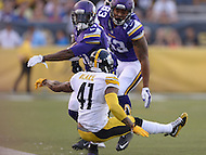 Canton, Ohio - August 9, 2015: #31 Jerick McKinnon of the Minnesota Vikings stiff arms #41 Antwon Blake of the Pittsburgh Steelers during a preseason game at the Hall of Fame Stadium in Canton, Ohio, August 9, 2015.  (Photo by Don Baxter/Media Images International)