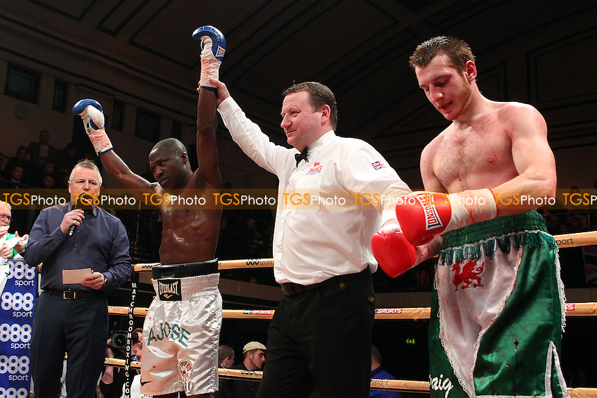 Ajose Olusegun (white shorts) defeats Ivans Levickis in a Light-Welterweight boxing contest, promoted by Matchroom Sports - 06/12/14 - MANDATORY CREDIT: Gavin Ellis/TGSPHOTO - Self billing applies where appropriate - contact@tgsphoto.co.uk - NO UNPAID USE