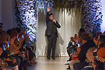"Fashion designer Matthew Christopher thanks audience for attending his Matthew Christopher 2018 ""Perennial Bliss"" collection fashion show at 325 West 38 Street on October 7, 2017 during New York Bridal Fashion Week."