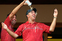 Captain Paul Azinger leads the celebrations with Boo Weekley at the clubhouse victory over Europe after the Singles on the Final Day of the Ryder Cup at Valhalla Golf Club, Louisville, Kentucky, USA, 21st September 2008 (Photo by Eoin Clarke/GOLFFILE)