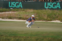 Dustin Johnson (USA) putt on the 16th hole during the third round of the 118th U.S. Open Championship at Shinnecock Hills Golf Club in Southampton, NY, USA. 16th June 2018.<br /> Picture: Golffile | Brian Spurlock<br /> <br /> <br /> All photo usage must carry mandatory copyright credit (&copy; Golffile | Brian Spurlock)
