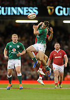 Ireland's Jack Carty and Wales Hallam Amos clash for the high ball <br /> <br /> Photographer Ian Cook/CameraSport<br /> <br /> 2019 Under Armour Summer Series - Wales v Ireland - Saturday 31st August 2019 - Principality Stadium - Cardifff<br /> <br /> World Copyright © 2019 CameraSport. All rights reserved. 43 Linden Ave. Countesthorpe. Leicester. England. LE8 5PG - Tel: +44 (0) 116 277 4147 - admin@camerasport.com - www.camerasport.com