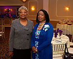 WATERBURY, CT - 19 MAY - 051918JW16.jpg --  Ethel Franks and Marie Hoffler pose for a photo during the National Congress of Black Women scholarship awards luncheon at La Bella Vista Saturday Afternoon.  Jonathan Wilcox Republican-American