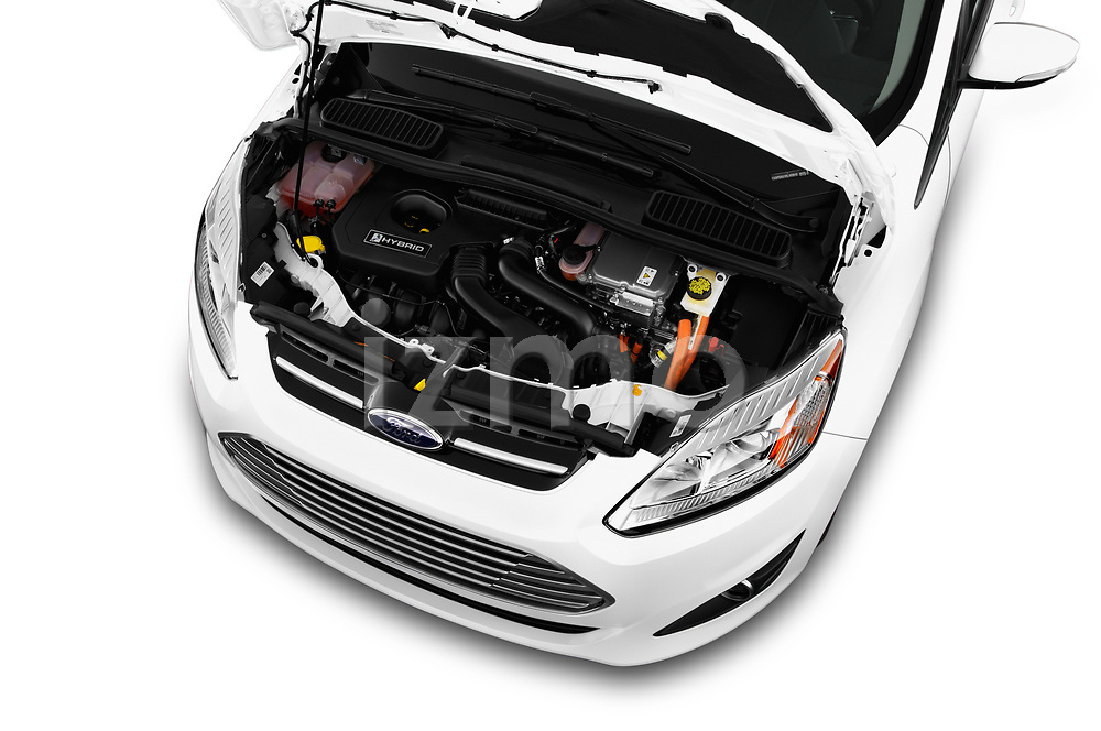 Car stock 2017 Ford C-Max Hybrid Titanium 5 Door Mini Van engine high angle detail view