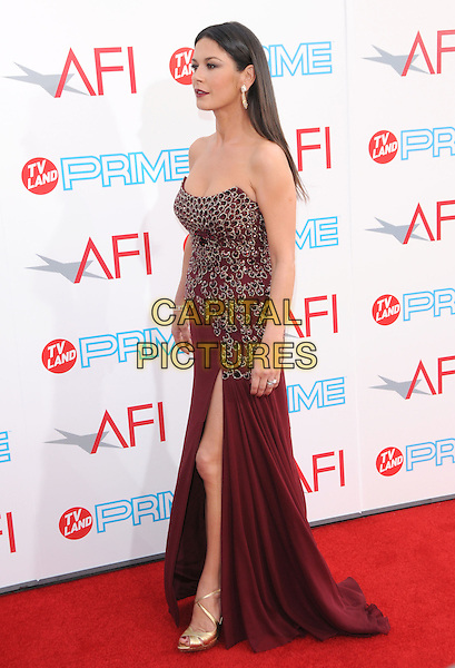 CATHERINE ZETA-JONES .The 37th AFI Life Achievement Award held at Sony Picture Studios  in Culver City, California, USA..June 11th, 2009.full length red maroon burgundy jewel encrusted embellished dress strapless  slit split profile gold shoes sandals .CAP/DVS.©Debbie VanStory/Capital Pictures.