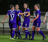 20190920 – LEUVEN, BELGIUM : OHL's  Tine De Caigny (6) is celebrating her goal with Laura-Roxana Rus (17), Sheryl Mercier and Michelle Colson (2) pictured during a women soccer game between Dames Oud Heverlee Leuven A and RSC Anderlecht Ladies on the fourth matchday of the Belgian Superleague season 2019-2020 , the Belgian women's football  top division , friday 20 th September 2019 at the Stadion Oud-Heverlee Korbeekdam in Oud Heverlee  , Belgium  .  PHOTO SPORTPIX.BE   SEVIL OKTEM