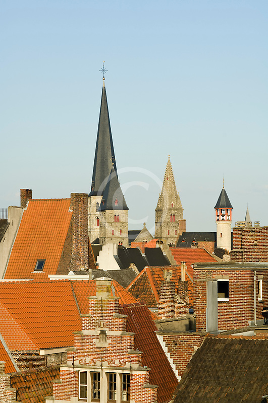 Belgium, Ghent, Red tile roofed houses