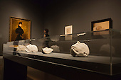 "Pictured: Death masks of Gustav Mahler, Gustav Klimt, Egon Schiele and Adolf Loos (L-R). This autumn, the National Gallery presents the UK's first major exhibition devoted to Viennese portraiture - ""Facing the Modern: The Portrait in Vienna 1900"". From 9 October 2013 to 12 January 2014 portraits by artists such as Gustav Klimt, Oskar Kokoschka, Egon Schiele and Richard Gerstl will be on display."