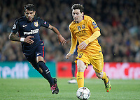 FC Barcelona's Leo Messi (r) and  Atletico de Madrid's Augusto Fernandez during Champions League 2015/2016 match. April 5,2016. (ALTERPHOTOS/Acero) <br /> Barcellona 05-04-2016 <br /> Football Calcio 2015/2016 Champions League <br /> Barcellona - Atletico Madrid Quarti di finale<br /> Foto Alterphotos / Insidefoto <br /> ITALY ONLY
