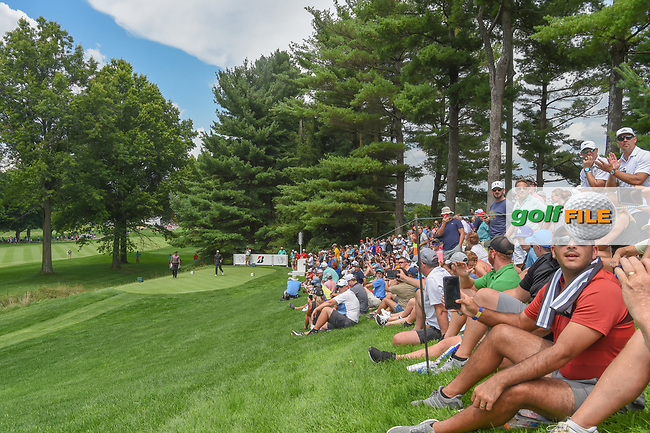 Fans watch the drive by Tiger Woods (USA) on 2 during 2nd round of the World Golf Championships - Bridgestone Invitational, at the Firestone Country Club, Akron, Ohio. 8/3/2018.<br /> Picture: Golffile | Ken Murray<br /> <br /> <br /> All photo usage must carry mandatory copyright credit (© Golffile | Ken Murray)
