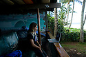 Claire Bevelaqua at the Volcom house at Pipeline on the Northshore of Oahu in Hawaii.