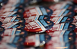 Personalized pins supporting Mitt Romney are displayed for sale at the Nevada Republican Party Convention in Sparks, Nev., on Saturday, May 5, 2012..Photo by Cathleen Allison