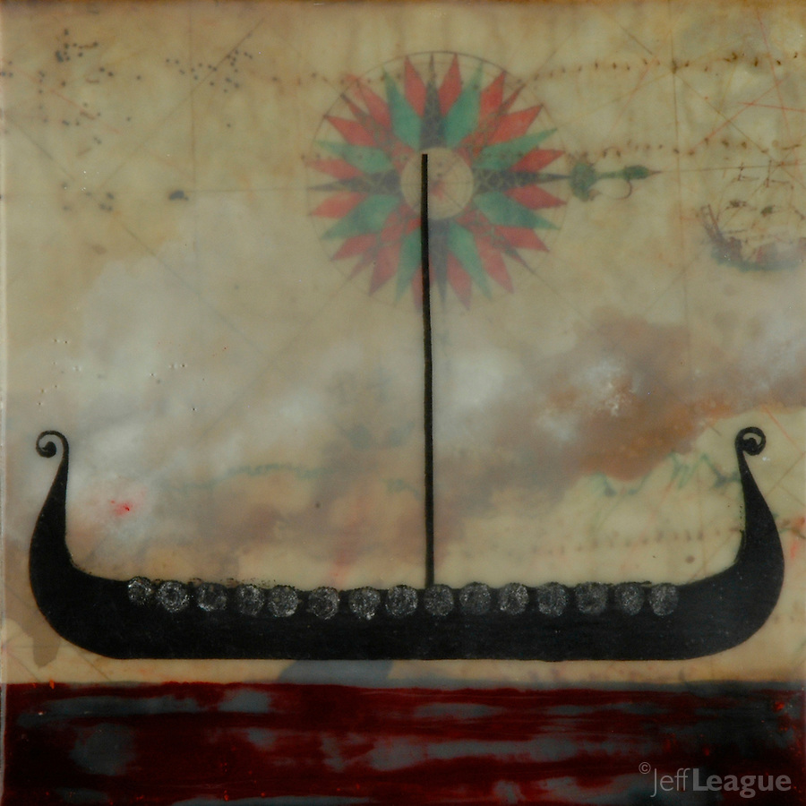 Spirit boat viking ship photography over antique map with compass rose and encaustic painting