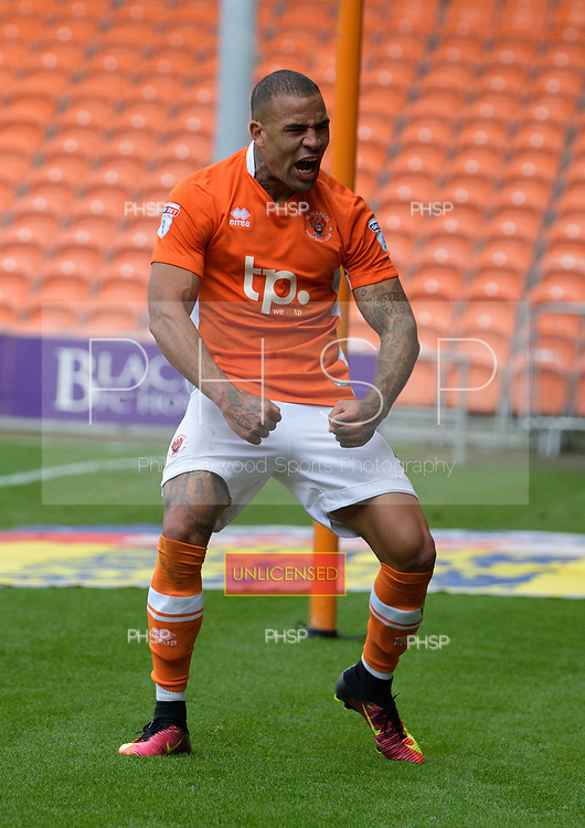 16/09/2017 Sky Bet League 1 Blackpool v Oxford United<br /> <br /> Kyle Vassell celebrates after scoring Blackpool's third goal