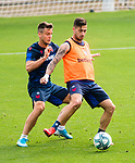 UD Levante's Nemanja Radoja (l) and Ivan Lopez during training session. May 28,2020.(ALTERPHOTOS/UD Levante/Pool)