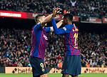 Ousmane Dembele of FC Barcelona celebrates with teammate Luis Alberto Suarez Diaz during the La Liga 2018-19 match between FC Barcelona and RC Celta de Vigo at Camp Nou on 22 December 2018 in Barcelona, Spain. Photo by Vicens Gimenez / Power Sport Images