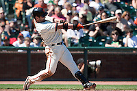 18 April 2009: San Francisco Giants' Aaron Rowand hits the ball during the San Francisco Giants' 2-0 loss to the Arizona Diamondbacks at AT&T Park in San Francisco, CA.