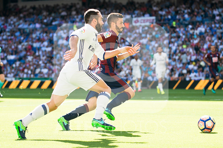 Real Madrid's player Daniel Carvajal and Eibar FC's player Francisco Manuel Rico during a match of La Liga Santander at Santiago Bernabeu Stadium in Madrid. October 02, Spain. 2016. (ALTERPHOTOS/BorjaB.Hojas)