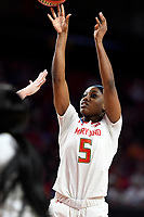 College Park, MD - March 23, 2019: Maryland Terrapins guard Kaila Charles (5) connects on a jump shot during first round action of game between Radford and Maryland at Xfinity Center in College Park, MD. Maryland defeated Radford 73-51. (Photo by Phil Peters/Media Images International)