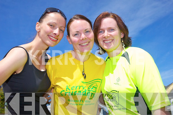Julia Mulvihill from Moyvane with Maeve O'Leary and Marie Carty from Listowel get ready for the 10km run held in Ballybunnion last Saturday afternoon.