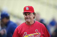 LOS ANGELES - OCTOBER 7:  Manager Tony La Russa of the St. Louis Cardinals watches batting practice before Game 1 of the National League Division Series against the Los Angeles Dodgers at Dodger Stadium on October 7, 2009 in Los Angeles, California. Photo by Brad Mangin