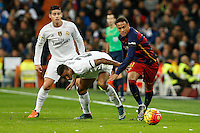Real Madrid´s Danilo and James Rodriguez and Barcelona´s Neymar Jr during 2015-16 La Liga match between Real Madrid and Barcelona at Santiago Bernabeu stadium in Madrid, Spain. November 21, 2015. (ALTERPHOTOS/Victor Blanco) /NortePhoto