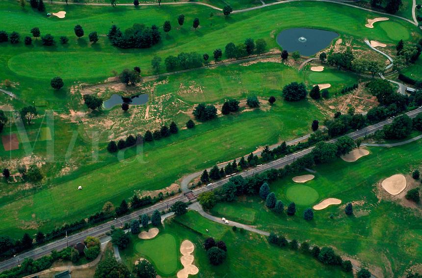 Aeriel view of a golf course. Massachusetts.
