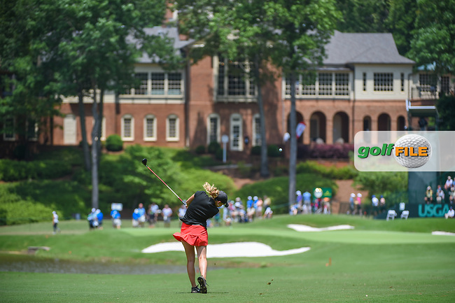 Ceilia Barquin Arozamena (a)(ESP) hits her approach shot on 18 during round 1 of the U.S. Women's Open Championship, Shoal Creek Country Club, at Birmingham, Alabama, USA. 5/31/2018.<br /> Picture: Golffile | Ken Murray<br /> <br /> All photo usage must carry mandatory copyright credit (© Golffile | Ken Murray)