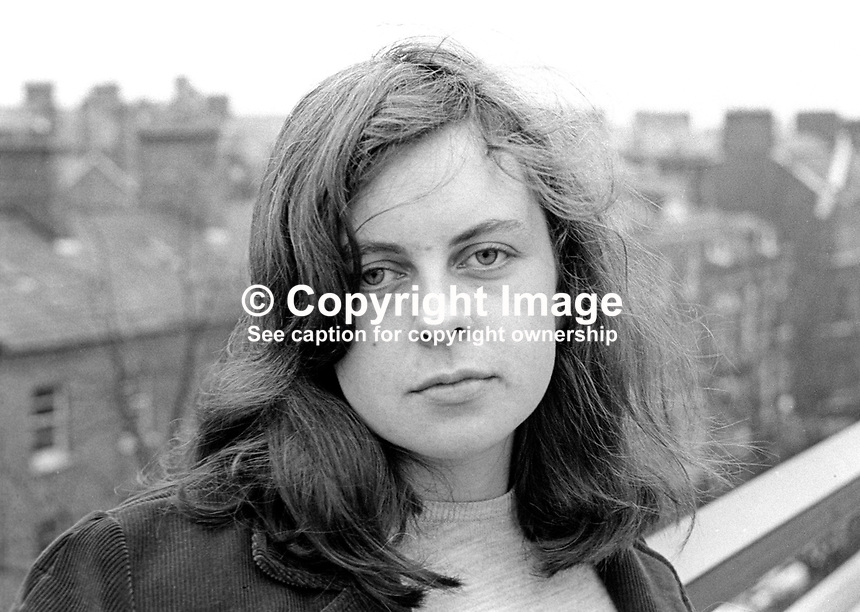 Bernadette Devlin, 20 years, who is standing as a People's Democracy candidate in the Mid-Ulster constituency in the February 1969 UK General Election. February, 1969, 196902000062<br />