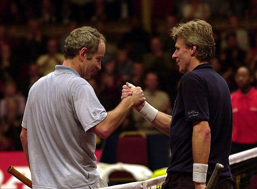 Photo Ken Brown.8.12.00 Honda Challenge at the Royal Albert Hall.Bjorn Borg shakes hands with John McEnroe for possibly the last time in competition after McEnroes victory.