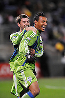 Brad Evans (left) and Tyrone Marshall celebrate Marshall's opening goal...Kansas City Wizards were defeated 3-2 by Seattle Sounders at Community America Ballpark, Kansas City, Kansas.