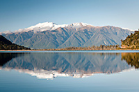 Lake Wahapo with reflections of Mt. Adams - Westland National Park, West Coast, New Zealand