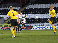 Jon Robertson takes the free kick in the St Mirren v Falkirk Clydesdale Bank Scottish Premier League Under 20 match played at St Mirren Park, Paisley on 30.4.13.