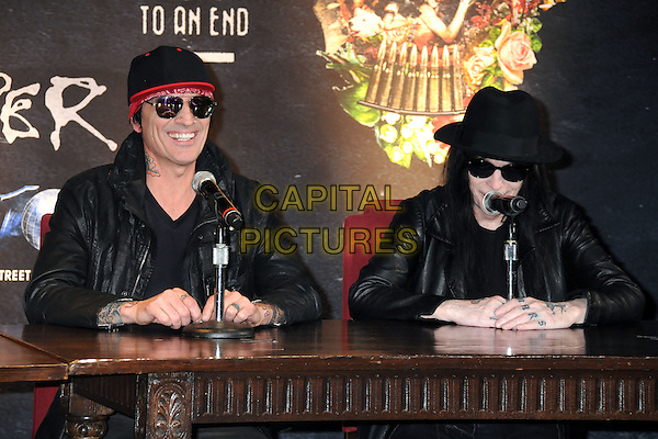 28 January 2014 - Hollywood, California -  Tommy Lee, Mick Mars, Motley Crue. Motley Crue Final Tour Announcement Press Conference held at The Roosevelt Hotel.<br /> CAP/ADM/BP<br /> &copy;Byron Purvis/AdMedia/Capital Pictures